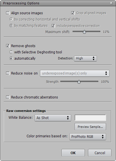 Photomatix Prerocessing Options Dialog (Only ghosting support)