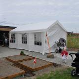 Vi havde stillet telt op til at sidde i, men heldigvis var vejret også godt!