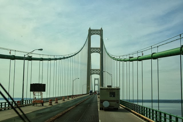 Mackinac Bridge, Lake Huron on the left., Lake MI rt.