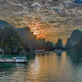 Halong Bay at Dawn by Anna Tatti - Landscapes Weather ( sky, dawn, ha long bay, clouds and sea, vietnam, sunrise, , colorful, mood factory, vibrant, happiness, January, moods, emotions, inspiration )