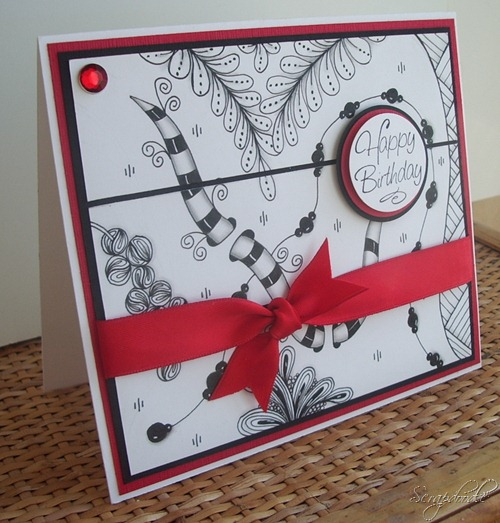 Zentangle Birthday Card, Carla's Scraps (3)