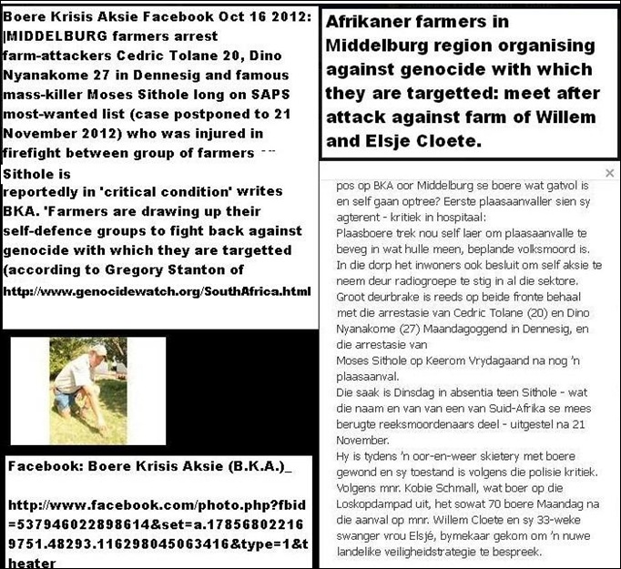 MIDDELBURG FARMERS organise against genocideOct162012