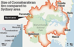 Size of Coonabarabran fires compared to Sydney area, 10 January 2013. Graphic: Sydney Morning Herald