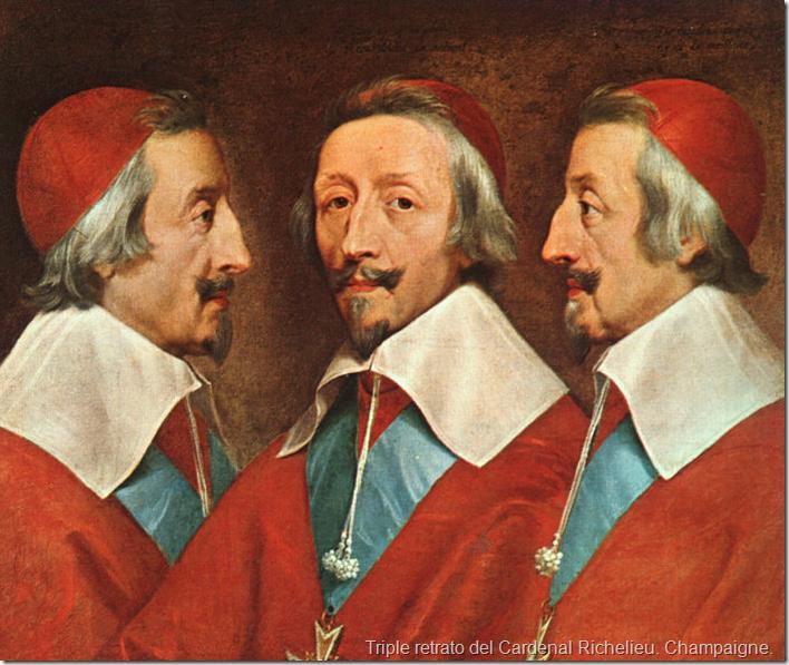 Triple retrato del Cardenal Richelieu. Champaigne.