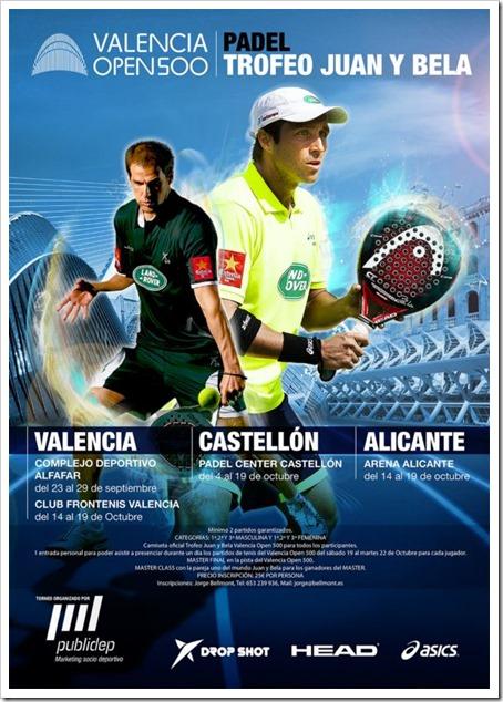 El pádel también será protagonista con el Trofeo Juan y Bela Valencia Open 500 ATP Word Tour 2013
