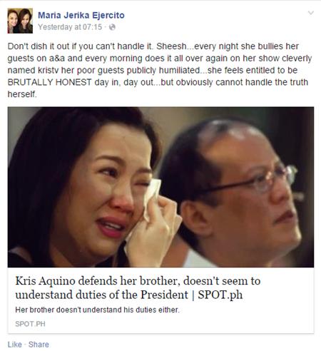 Jerika Ejercito slams Kris Aquino
