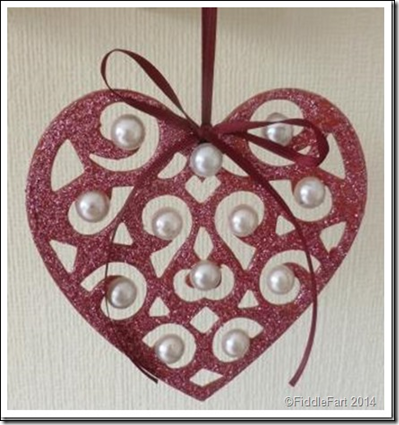 glittered heart valentines Christmas decoration