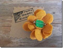 gold felt flower pin