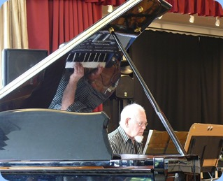 George Markwick keeping the music flowing as residents and NSOKC members enjoyed their lunch break. Photo courtesy of Dennis Lyons.