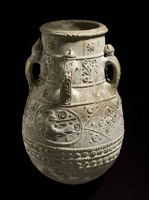 Jar Iraq Jar, 11th-12th centuries Ceramic; Vessel, Earthenware, applied and incised decoration, 24 x 15 1/2 in. (60.96 x 39.37 cm) The Nasli M. Heeramaneck Collection, gift of Joan Palevsky (M.73.5.710) Art of the Middle East: Islamic Department.