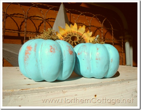aqua painted pumpkins@NorthernCottage.net