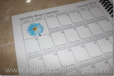 2013 Blogging Planner {FREE Printable}: Monthly Blog Calendar