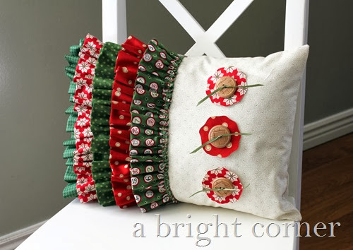 Adorable ruffled Christmas pillow