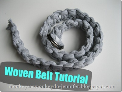 woven belt tutorial made from t-shirts -#DIYbelt #stretchybelt