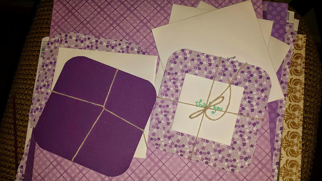 homemade DIY thank you cards Purple