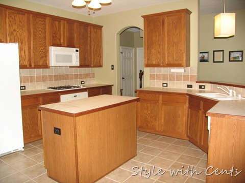 Style with cents the 750 complete kitchen remodel - Builder grade oak kitchen cabinets ...