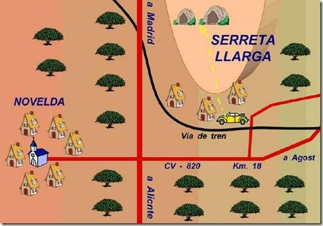 Croquis de localización de las Cuevas de la Serreta Llarga - Novelda