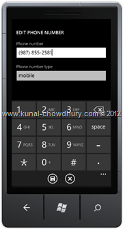 Screenshot 2 : How to Save Phone Number in WP7 using the SavePhoneNumberTask?