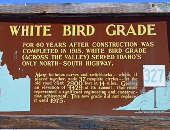 White Bird Grade Sign