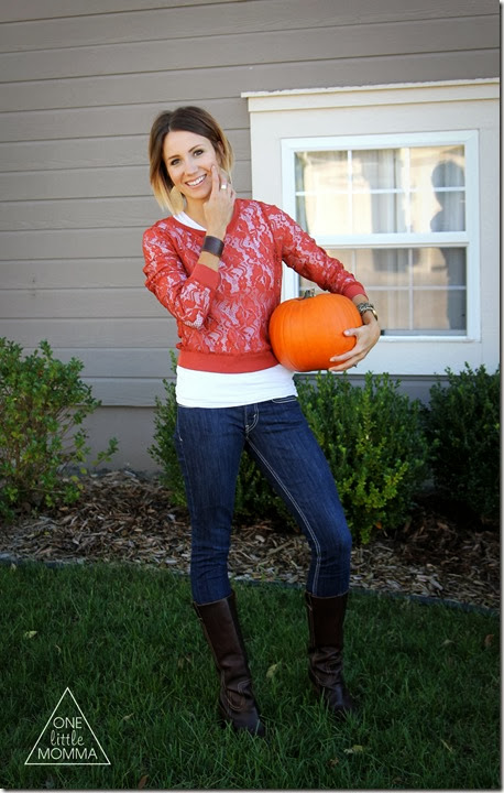 Dress a little festive this Fall in a burnt orange lace top and tall chocolate brown boots.