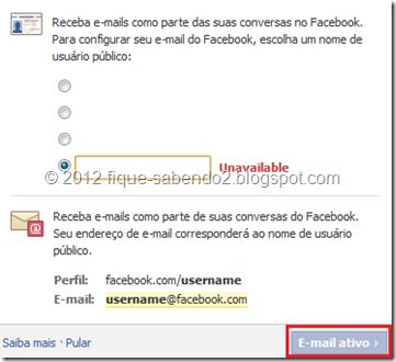Escolha um nome de usuário - E-mail do Facebook
