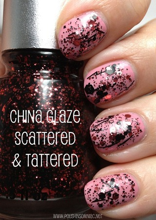 China Glaze Scattered and Tattered (over Pink-e Promise)