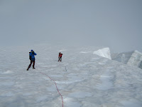 On the upper glacier things start opening up a bit. Weather would clear for a minute, then more clouds would roll back in. Having a GPS was pretty crucial.