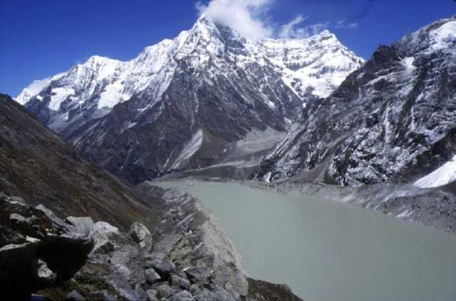 Imja glacier lake, situated at 5100 meters altitude in Nepal's Everest region. At its center, the lake is about 600m wide, and according to government studies, up to 96.5m deep in some places. It is growing by 47m a year, nearly three times as fast as other glacier lake in Nepal. nepalmountainnews.com