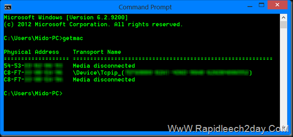 using Windows Command Prompt to locate your MAC Address