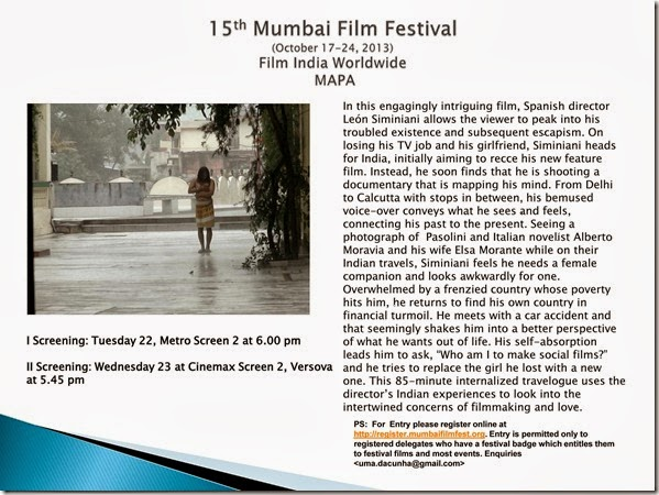 15th Mumbai Film Festival (October 17-24, 2013) Film India Worldwide  MAPA
