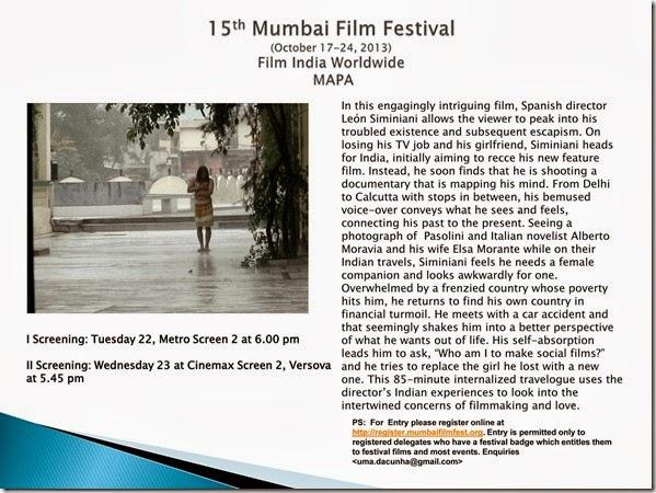 15th Mumbai Film Festival (October 17-24, 2013) Film India Worldwide  MAPA