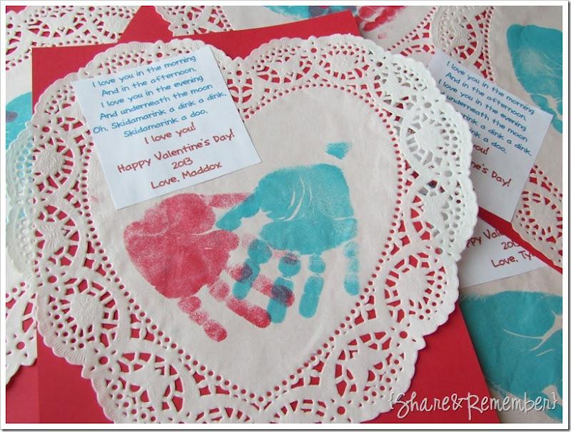 Handprint Valentine kids can make Skidamarink A Doo, I Love You!