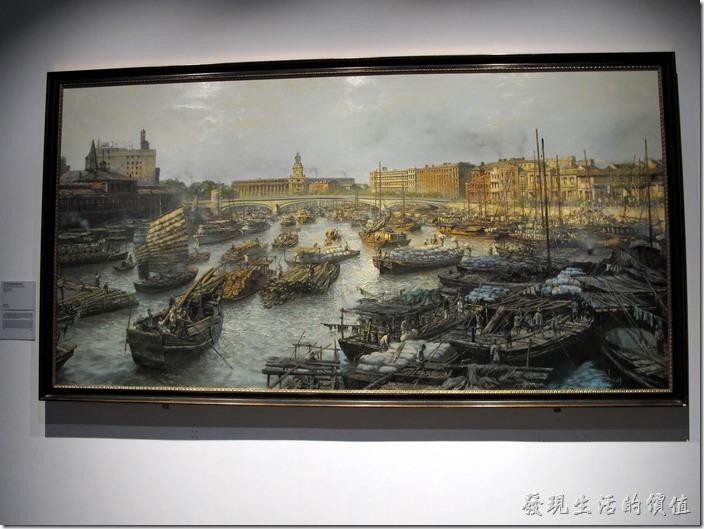 上海-中華藝術宮。二十世紀初的蘇州河。熱腦繁忙的景象。