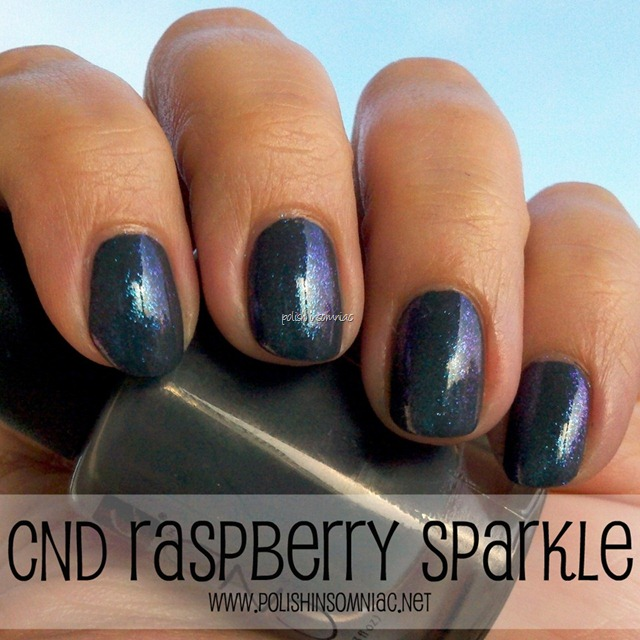 CND Raspberry Sparkle over CND Asphalt 2