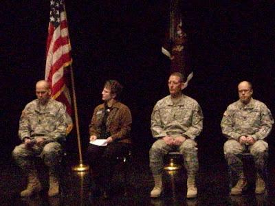 Lt. Col. Kevin J. Cruse, Mayor Sandra Johnson, Command Sgt. Major William P. Thayer, Chaplain Capt. Paul Weber