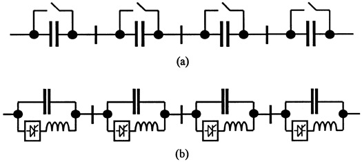 One phase of a series capacitor. (a) mechanically controlled; and (b) electronically contralled