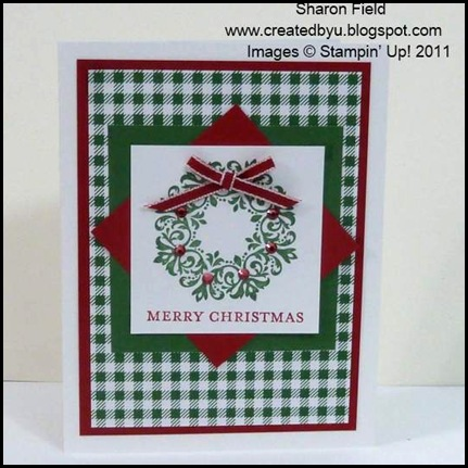 The_Sounding_Joy, Sharon_Field, Brushed_Gold,Quilted_Satin_Ribbon, CAS, 5_minute_Cards, Christ_The_King, camp, Holiday Mini Catalog, Lovely_As_A_Tree, Petite_Pairs, Bright_Hopes, Rhinestones, Frostwood_Lodge