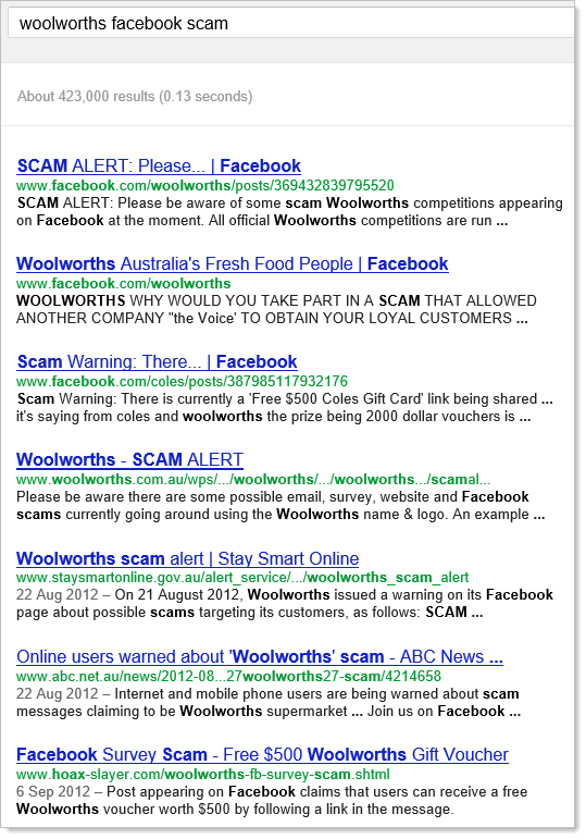 Google search for &quot;woolworths facebook scam&quot;