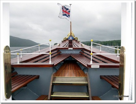 The sleek upward pointing bow of Steam Yacht