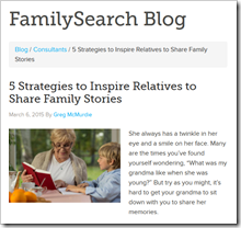 FamilySearch blog quotes the Ancestry Insider