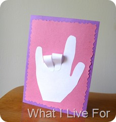 Handprint I Love You Card