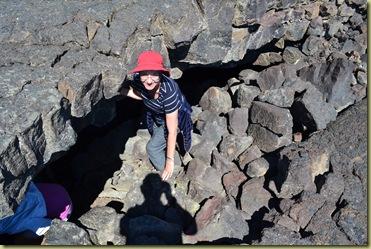 Pat entering cave