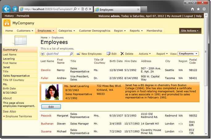 Employees grid view with custom template and Edit button