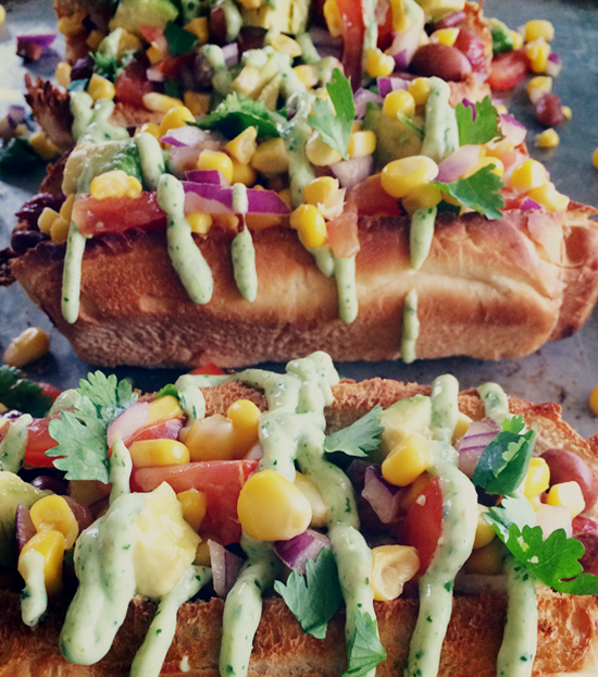 Tex Mex Hot Dogs with Jalapeno Crema