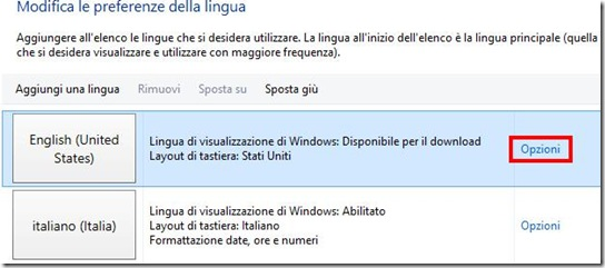Opzioni lingua Windows 8