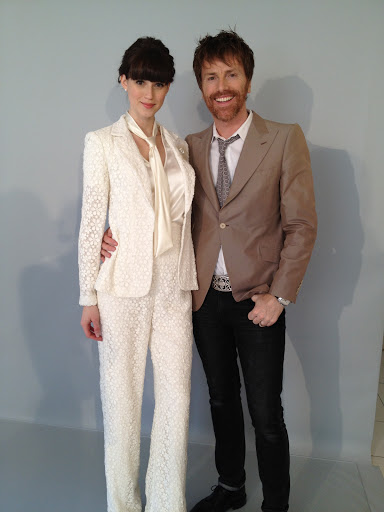 Designer Don O'Neill with a model in a fun pant suit.