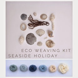 Plant dyed yarns and their natural inspiration for Eco Weaving Kit by Alchemy - Seaside pack