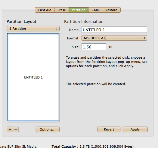 Now it s one partition labeled Untitiled 1