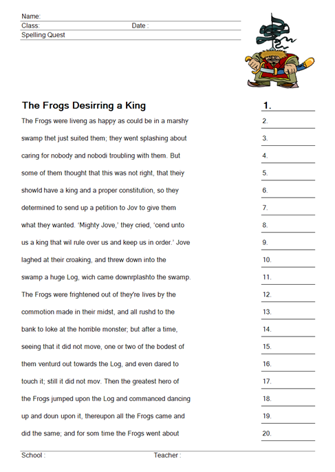 worksheet The Frogs Desiring a King