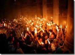 Схождение так называемого благодатного огня в Иерусалиме